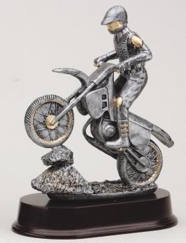 Motorcycle on Rock with gold trim on mahogany base award