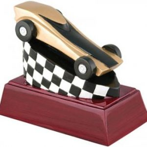 Pinewood Derby Gold Resin Trophy On Mahogony finish base RC-448