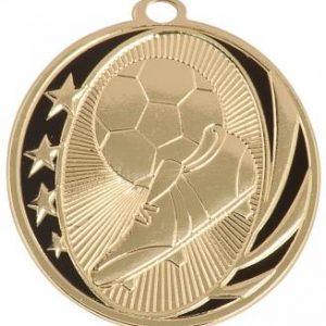 MidNite Star Laserable Soccer Medal shown in gold