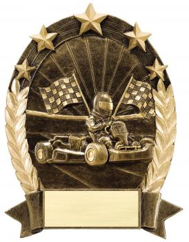 Go Kart Racing Oval Gold with Stars Resin Award