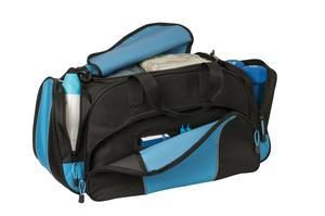 BG91 Metro Duffle Bag shown in Light Blue open to display pockets
