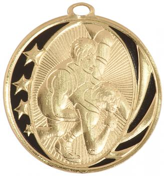 MidNite Star Laserable Wrestling Medal shown in gold
