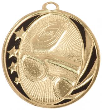 MidNite Star Laserable Swimming Medal shown in gold