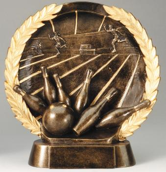 Super 3D Bowling Bronze Finish Circular Plate Award