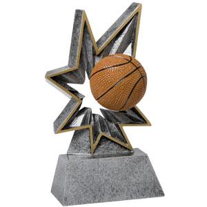 Spring-Loaded Action this resin award really bobbles basketball trophy