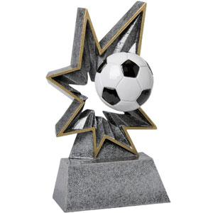 Spring-Loaded Action this resin award really bobbles soccer trophy
