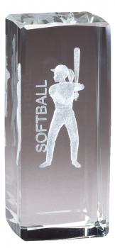 CRY1290 Collegiate Series Sports Crystal Softball