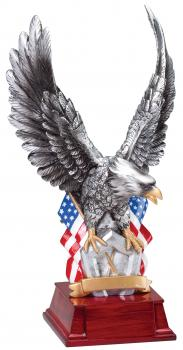 MPI Silver Tone American Eagle with American Flag Resin Award