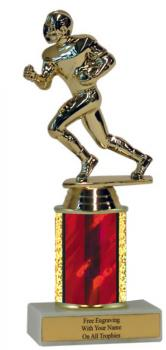 "Small Economy Trophy, shown with 2"" red column and football figure"