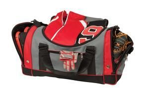 BG79 Large Duffel for all purposes shown in red with dark gray trim open