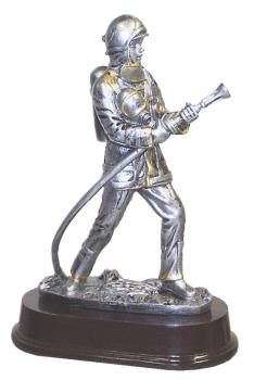 Firefighter resin sculpture with Hose on Mahogany finish base