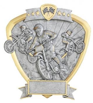 Shield Motorcross Resin Gold and Silver Award Plate