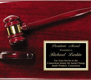 MPI AGP40 Rosewood Finish Gavel Plaque with plate of engraving