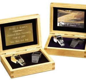 Solid Oak Gift Boxed Whistle Set with plate of engraving